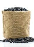 在大袋饲料的干黑豆 免版税库存图片