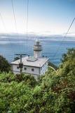 在大西洋海岸峭壁的白色灯塔在蓝天的 图库摄影