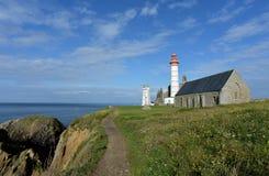 在大西洋海岸的灯塔 免版税库存照片