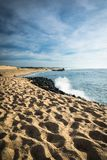 在大西洋海岸线的风景沙滩与在蓝天, capbreton, les兰德斯,法国的碎波 免版税库存照片