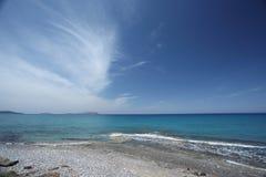 在大西洋海岸的五颜六色的日出风景 免版税库存图片