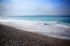在大西洋海岸的五颜六色的日出风景 图库摄影