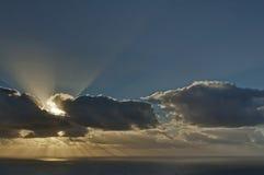 在大西洋的日落从沿街叫卖者的高峰驱动。 免版税库存照片