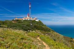 在大西洋的灯塔罗卡角的,葡萄牙 免版税库存图片