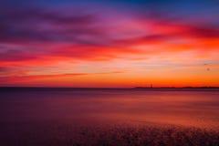 在大西洋的长的曝光日落的,开普梅,新的Jer 库存图片