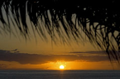 在大西洋,海岛马德拉岛的日落 免版税图库摄影