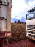 在大豆收获的卡车 免版税库存图片