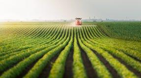 在大豆豆领域的拖拉机喷洒的杀虫剂 免版税库存照片