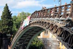 在大运河的桥梁在威尼斯意大利 库存图片