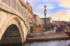 在大运河的江边,威尼斯 库存照片