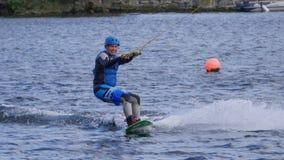 在大运河船坞供以人员wakeboarding在都伯林市 免版税库存图片