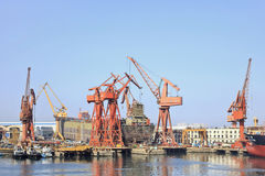 在大连,中国港的靠码头的船  免版税图库摄影