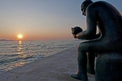 在大道克罗地亚的雕象 库存图片