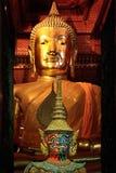在大金黄菩萨雕象backg前面的五颜六色的大雕象 库存照片