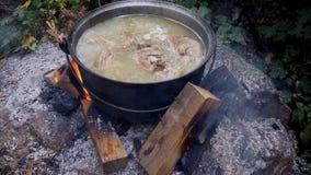在大锅的夏天晚餐,篝火旅游业耳朵 库存图片