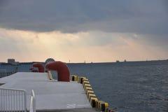 在大阪口岸的系船柱 免版税库存照片