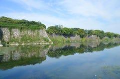 在大阪城堡墙壁上的看法 库存图片
