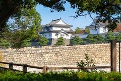 在大阪城堡,日本的堡垒墙壁 免版税库存照片
