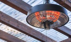 在大阳台屋顶的天花板的光芒四射的加热器 免版税库存照片