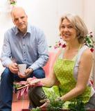 在大阳台的微笑的年迈的夫妇饮用的咖啡 图库摄影