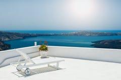 在大阳台的Sunbed 免版税库存图片