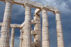 在大陆希腊南部的海岸的海角Sounion  06 20 2014年 从峭壁高度的海洋风景海角Sounion,  库存图片