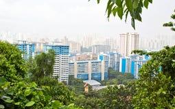 在大雨期间的新加坡高层 免版税库存照片