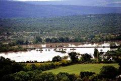 在大雨以后被充斥的国家风景 免版税图库摄影