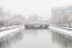 在大雪期间的Dambovita河在冬天 免版税库存图片