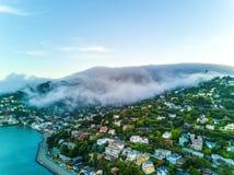 在大雾下的旧金山湾 免版税库存图片