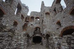 在大雾的中世纪城堡废墟走廊 免版税库存照片