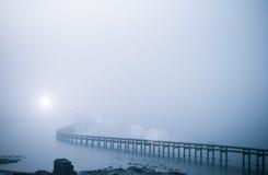 在大雾的海湾桥梁 图库摄影