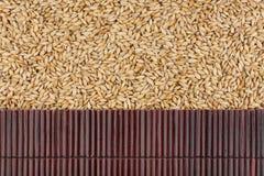 在大麦五谷的美丽的竹席子作为农业背景 图库摄影