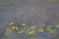 在大绘画以为特色的克洛德・莫奈绘画在Musée de l'Orangerie,巴黎,在2015年8月-射击的法国 免版税库存照片