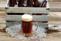在大玻璃杯子的冷的黑啤酒有有冰的co葡萄酒条板箱的 免版税图库摄影