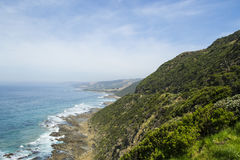 在大洋路,南维多利亚的海岸线1 免版税库存图片