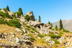 在大Almaty湖,天山附近的自然山在阿尔玛蒂,哈萨克斯坦 免版税图库摄影