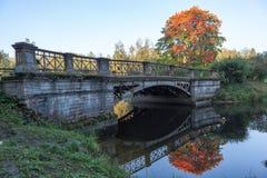 在大Lamsky池塘的大(其次) Lamsky桥梁 亚历山大公园 普希金(Tsarskoye Selo) 俄国 库存照片