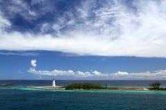 在天堂海岛上的历史的灯塔 库存照片