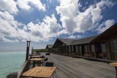 在天堂海岛,马尔代夫的美好的风景 2012年3月 免版税图库摄影