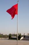 在天安门广场北京,中国的红旗 库存图片