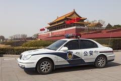 在天安门广场的警车,中国 免版税库存照片