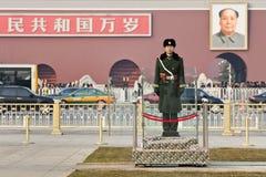 在天安门广场的年轻仪仗队,北京,中国 免版税库存照片