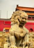 在天安门门前面的狮子在北京 免版税库存图片