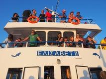 在天巡航小船,希腊的假日制造商 免版税库存照片