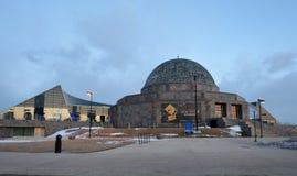 在天文馆的冬天晚上 库存图片