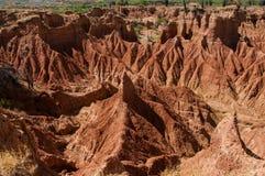 在天旱中间的巨大的大沙子石头岩石 库存照片