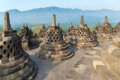 在天时间的婆罗浮屠寺庙,日惹, Java,印度尼西亚 免版税图库摄影