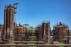 在天然气产业的被放弃的机器在气体运转公园西雅图 免版税库存图片