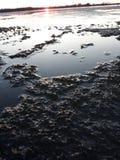在天的日落的冰 免版税库存照片